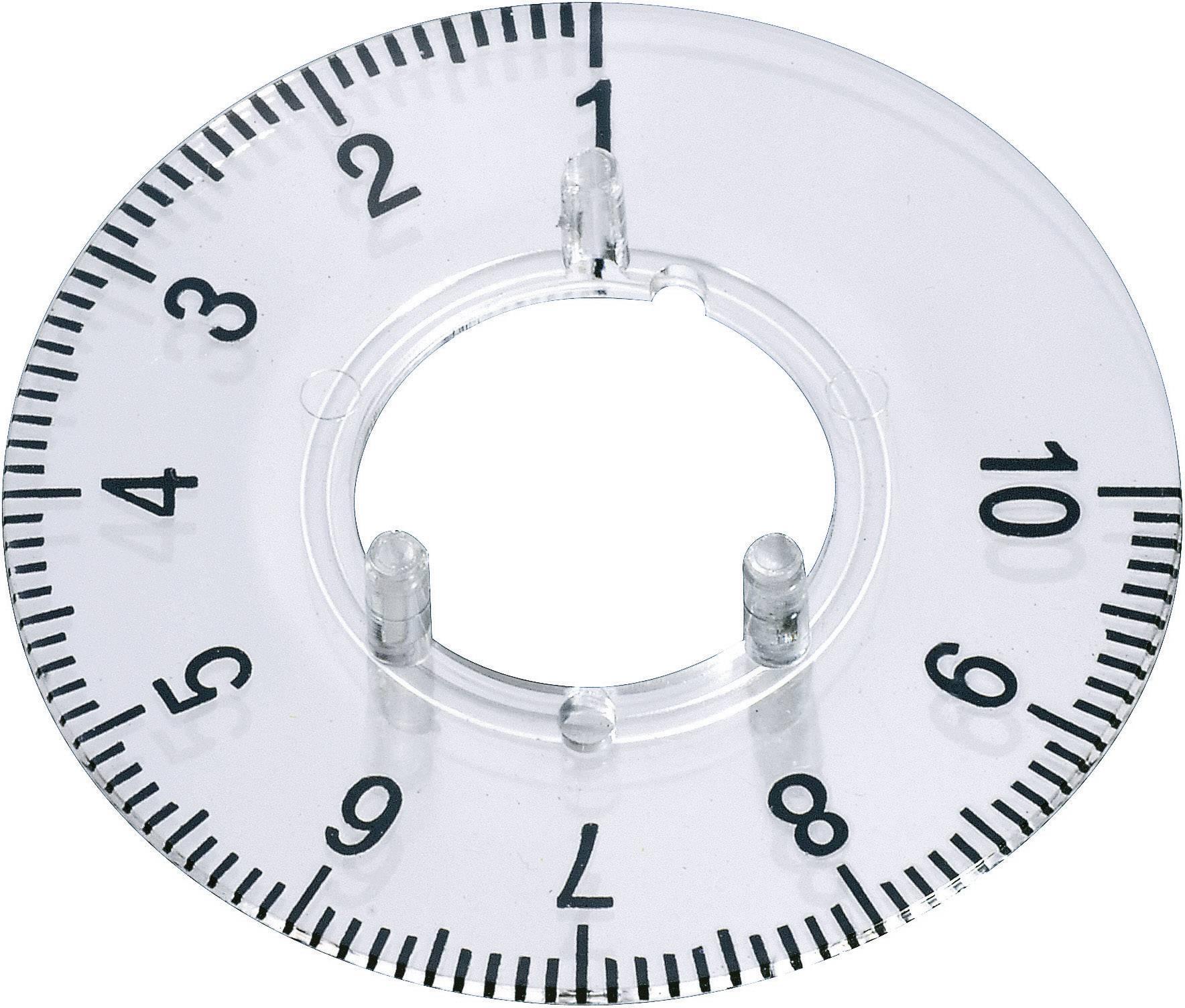 Kruhová stupnice OKW, vhodná pro knoflík Ø 20 mm,rozsah 1-10, transparentní