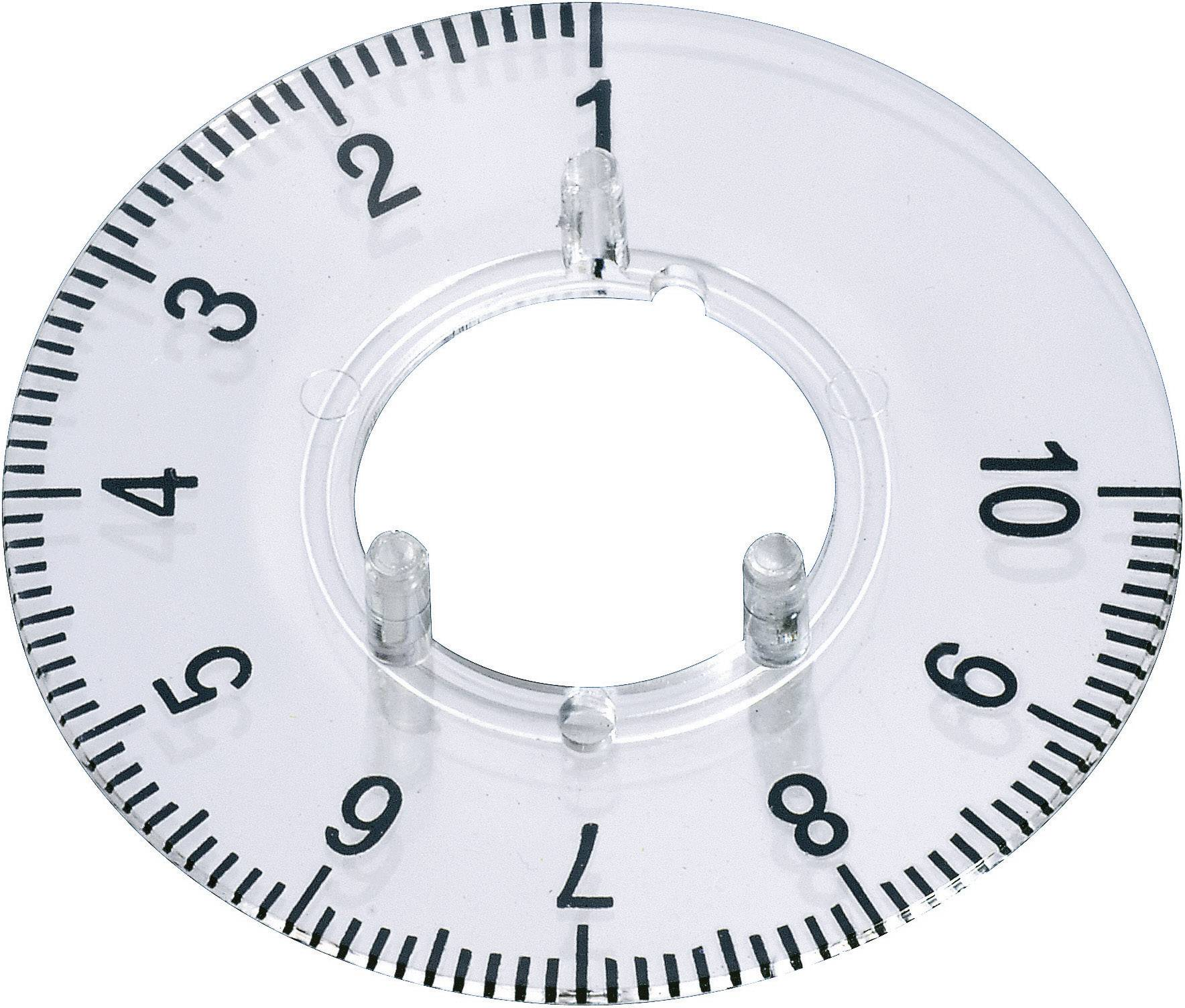 Kruhová stupnice OKW, vhodná pro knoflík Ø 23 mm,rozsah 1-10, transparentní