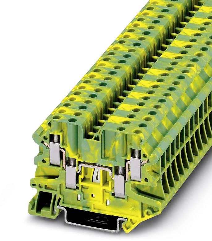 Trojitá svorka ochranného vodiče Phoenix Contact UT 4-QUATTRO-PE 3044597, 50 ks, zelenožlutá