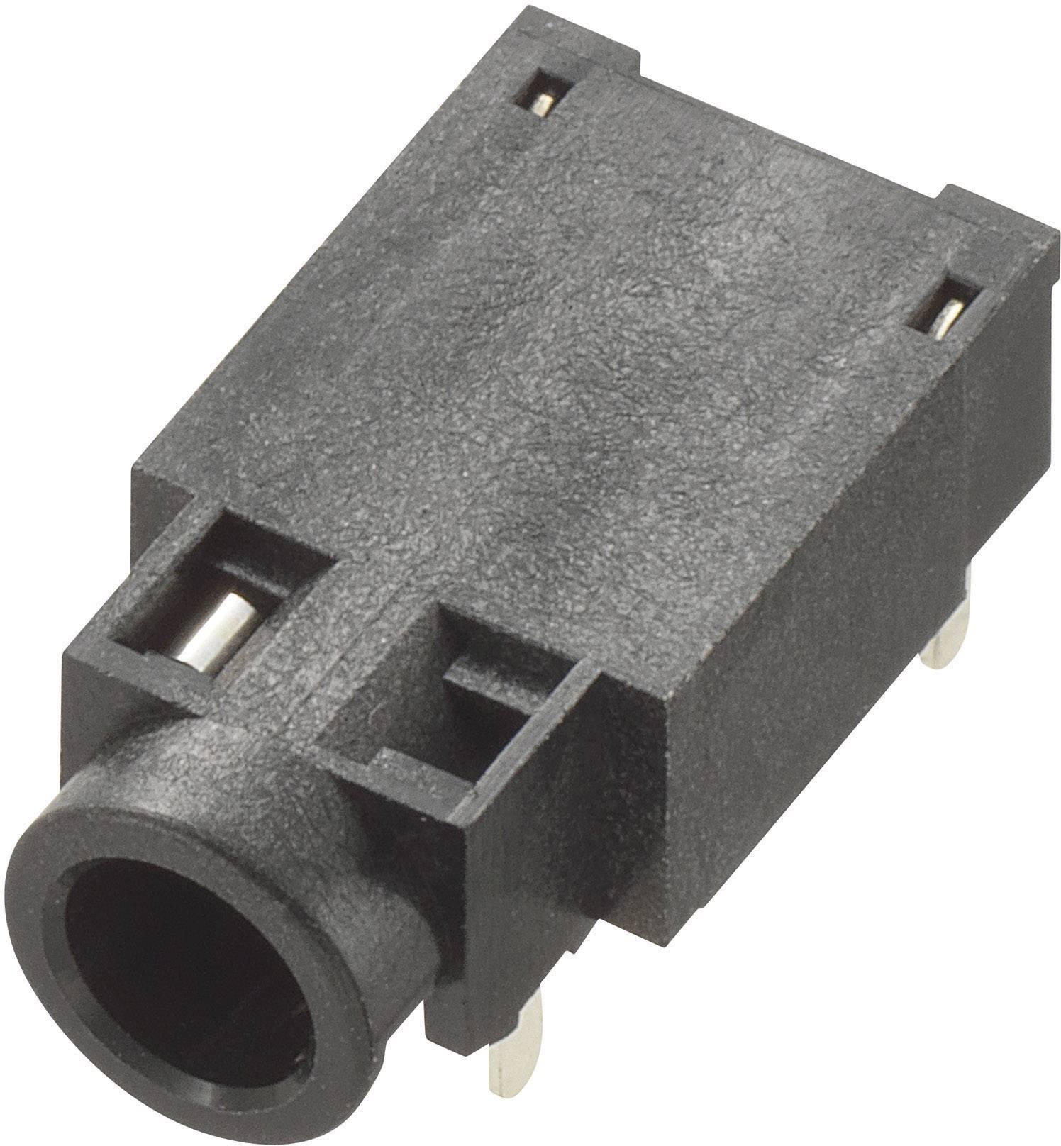 Jack konektor 3,5 mm stereo, zásuvka vestavná horizontální, 4pól., černá