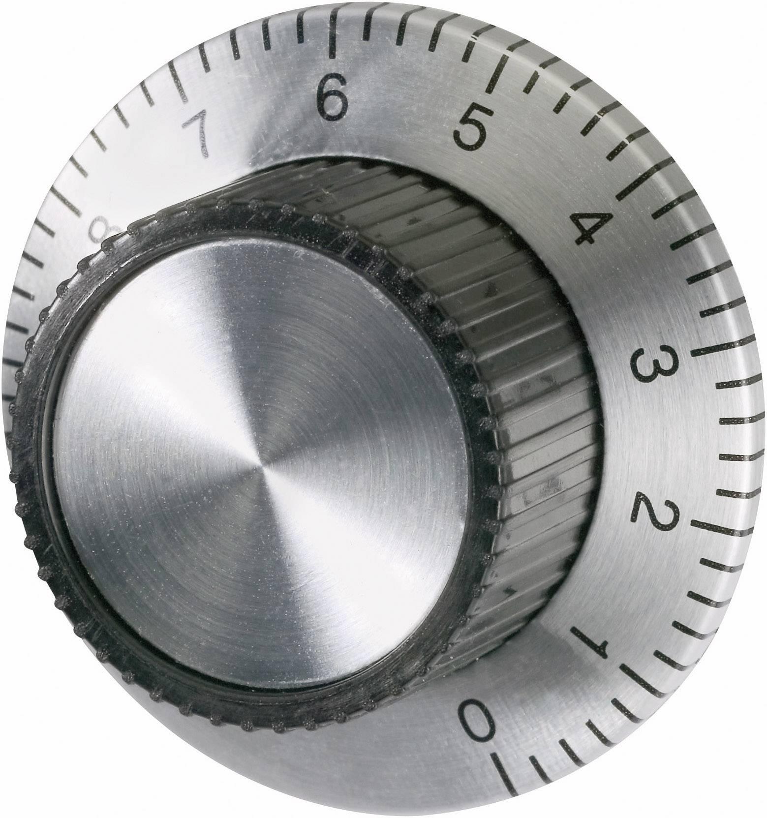 Univerzální otočný knoflík se stupnicí, 23,8 x 37 x 15 mm, 6,4 mm, stříbrná