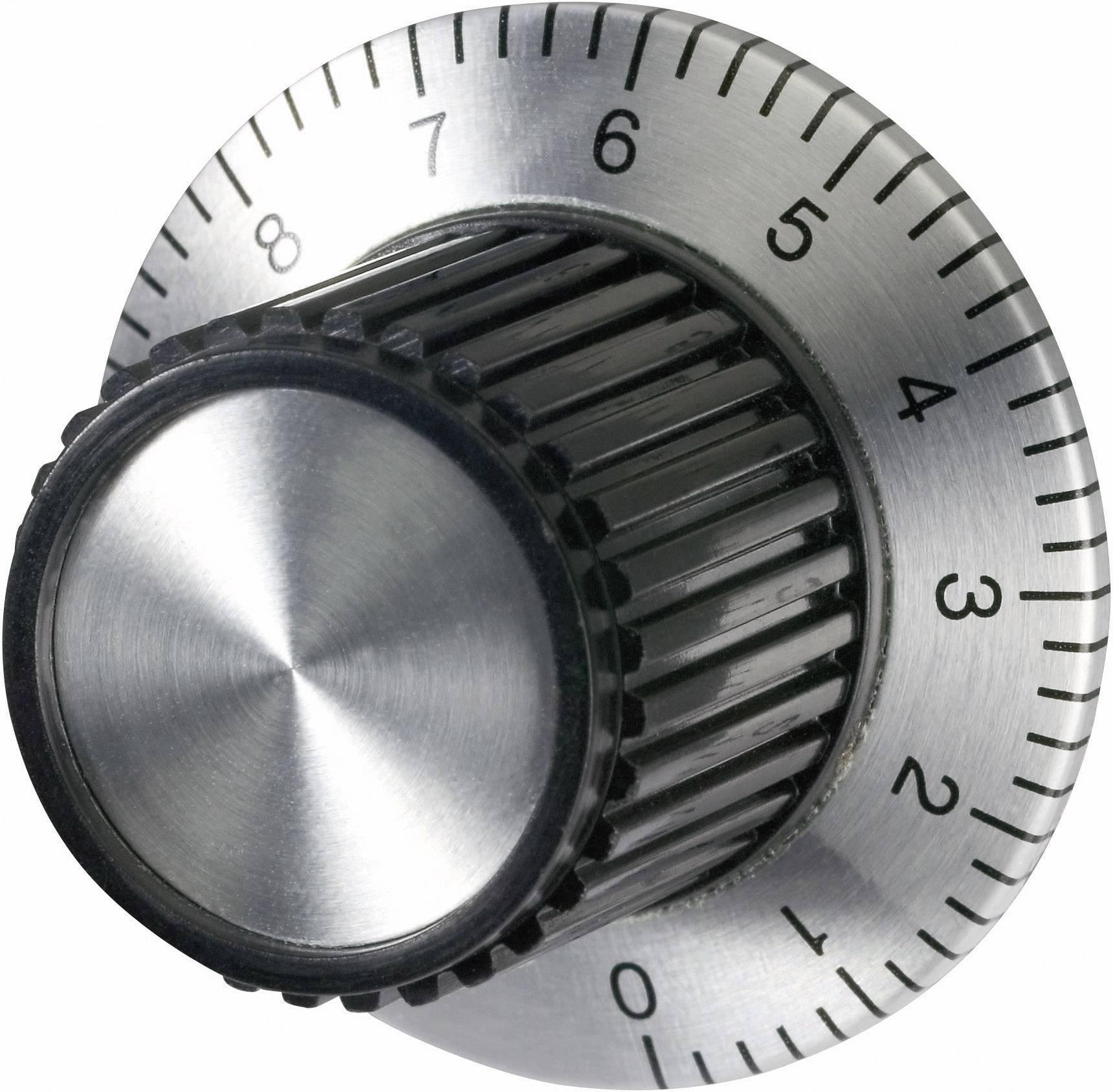Univerzální otočný knoflík se stupnicí, 23 x 37 x 23,3 mm, 6 mm, stříbrná