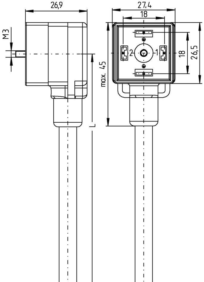 Propojovací ventil Escha VA22-24.3-5/S370 (8047804), IP67 / IP69K, 5 m, černá