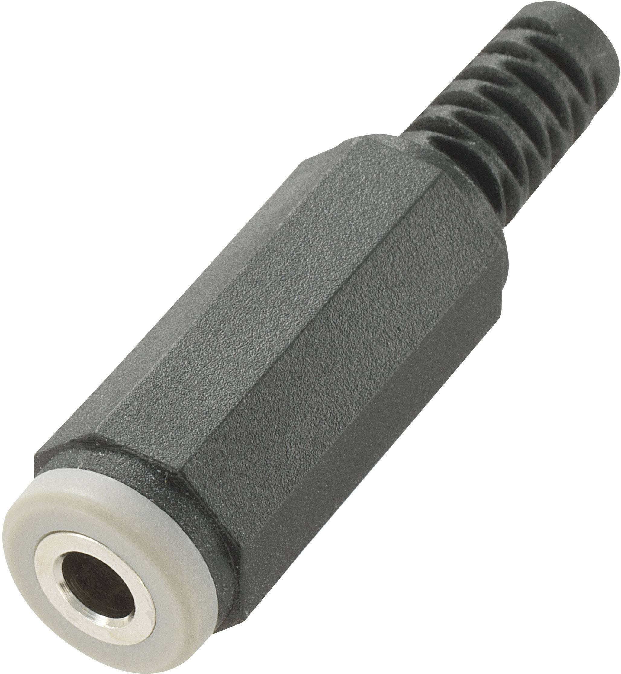 Jack konektor 3.5 mm stereo zásuvka, rovná Conrad Components 4, čierna, 1 ks