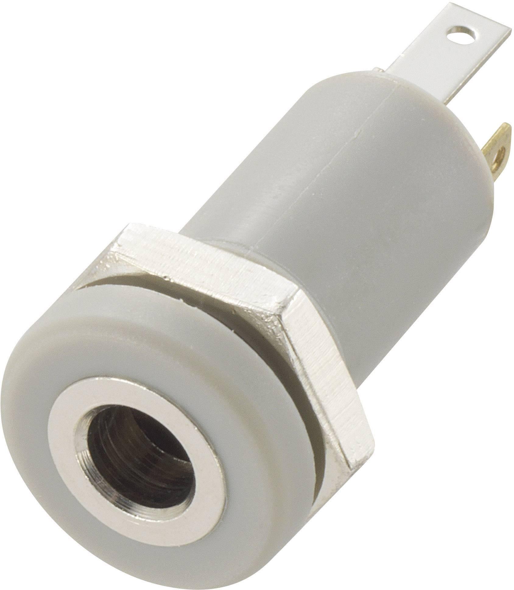 Jack konektor 3.5 mm TRU COMPONENTS stereo zásuvka, vestavná vertikální, pólů 4, stříbrná, 1 ks