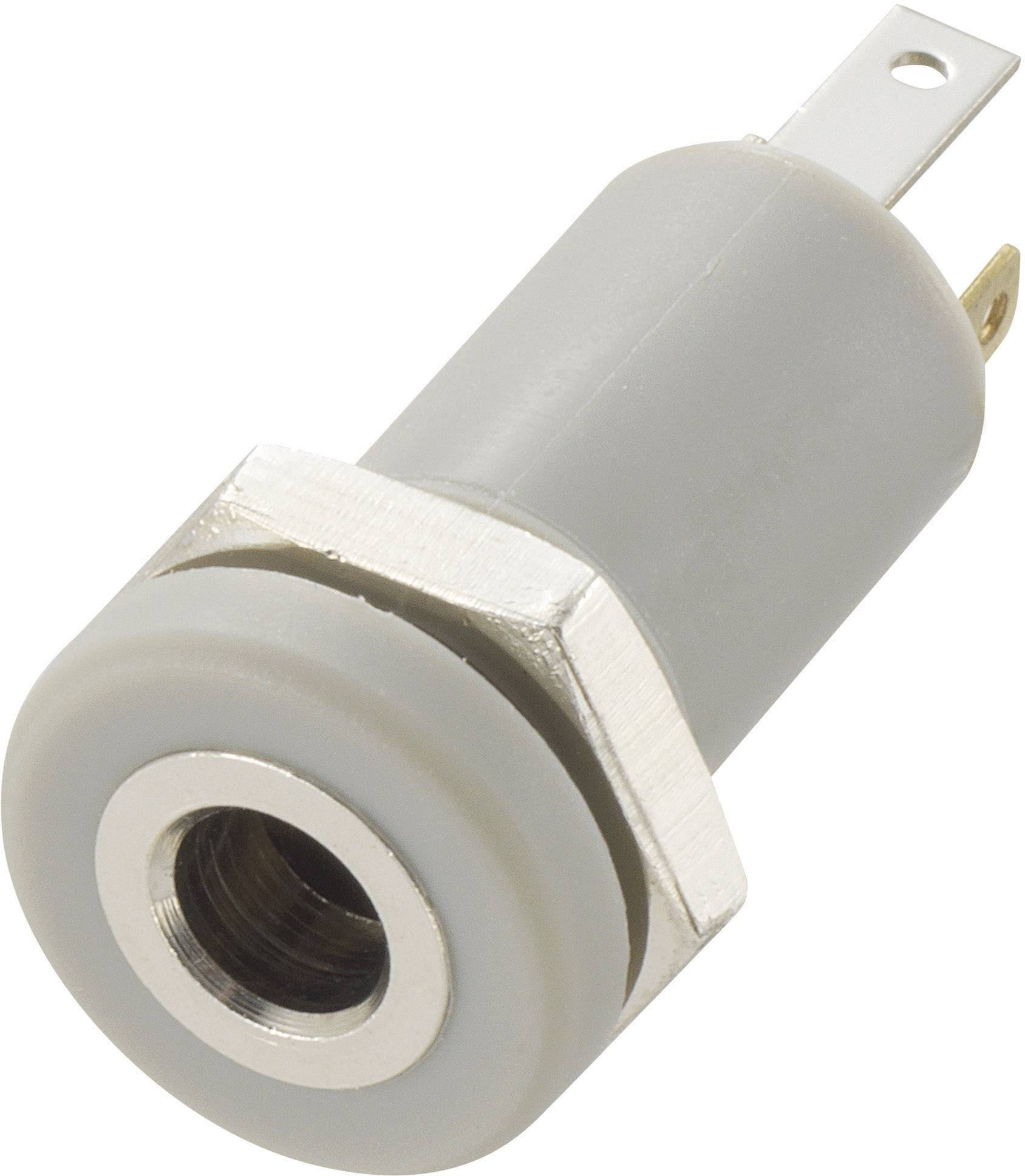 Jack konektor 3.5 mm TRU COMPONENTS stereo zásuvka, vstavateľná vertikálna, pólů 4, strieborná, 1 ks