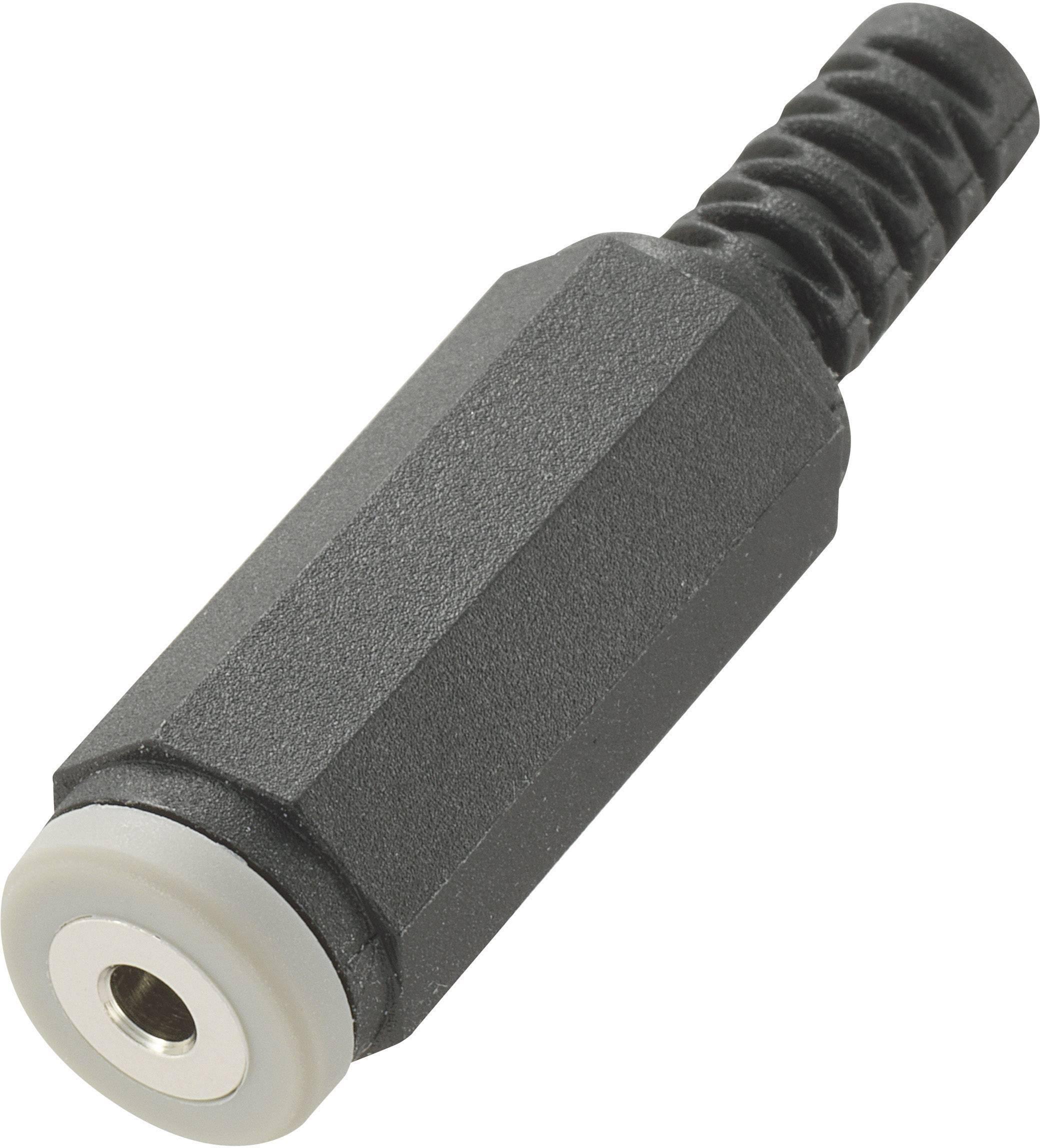 Jack konektor 2.5 mm stereo zásuvka, rovná Conrad Components počet pinov: 4, čierna, 1 ks