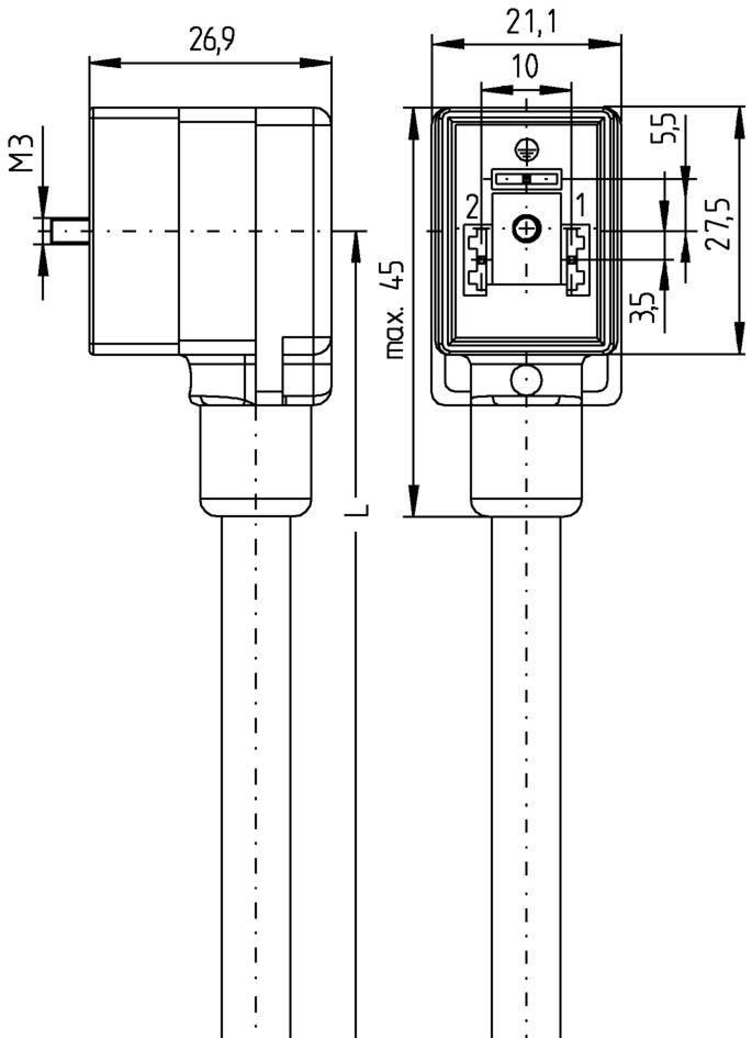 Propojovací ventil Escha VB21-230.5-5/S370 (8047810), IP67 / IP69K, 5 m, černá