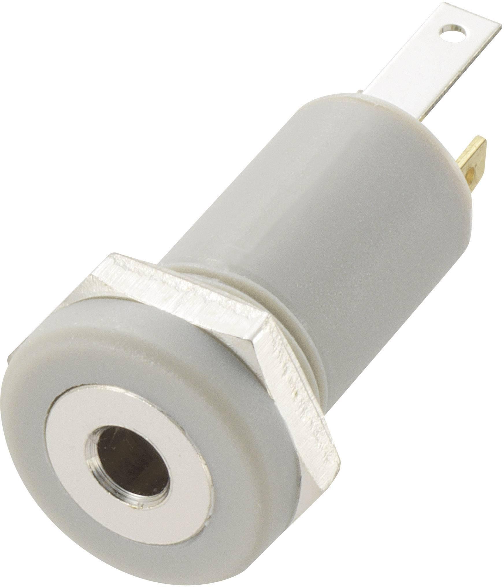 Jack konektor 2.5 mm stereo zásuvka, vstavateľná vertikálna Conrad Components 4, sivá, 1 ks
