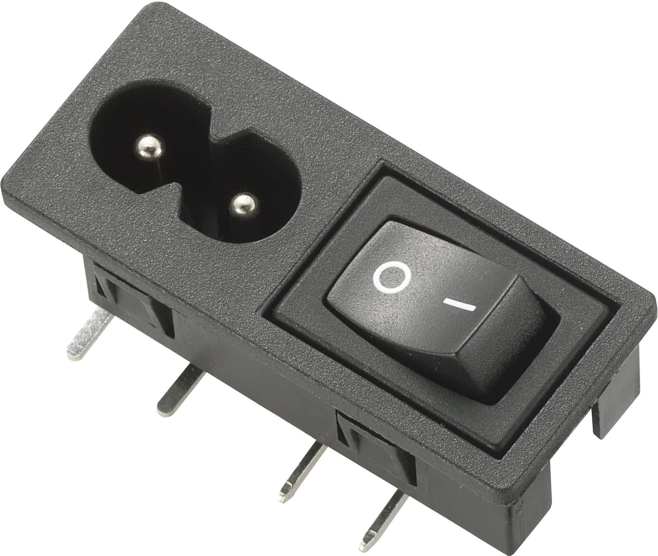IEC zástrčka C13/C14 C8;C8, zástrčka, vstaviteľná horizontálna, počet kontaktov: 2, 2.5 A, 250 V, čierna, 1 ks