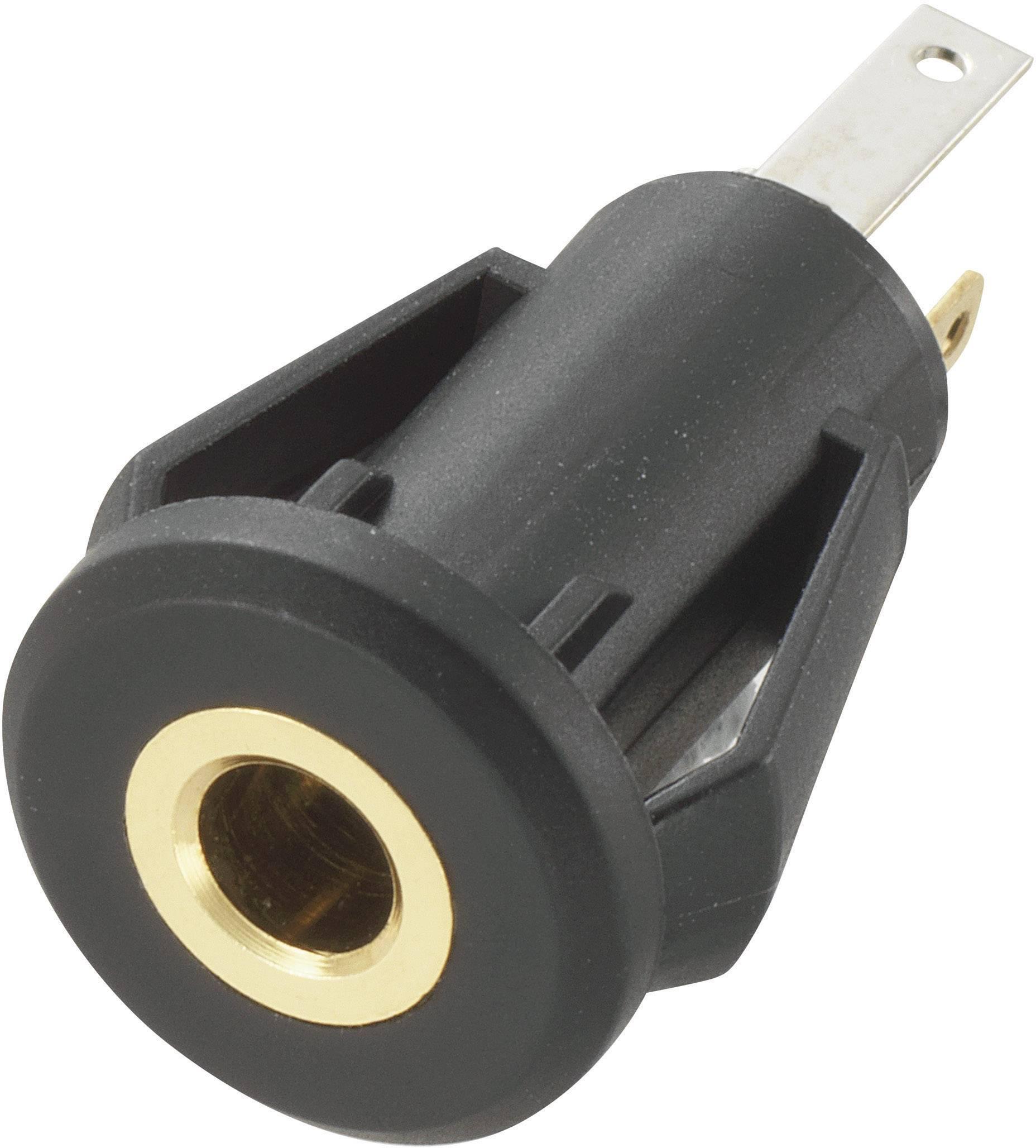 Jack konektor 3.5 mm TRU COMPONENTS stereo zásuvka, vstavateľná vertikálna, pólů 3, čierna, 1 ks