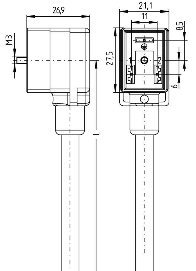 Propojovací ventil Escha VBI21-24.3-5/P01 (8047830), IP67 / IP69K, 5 m, černá