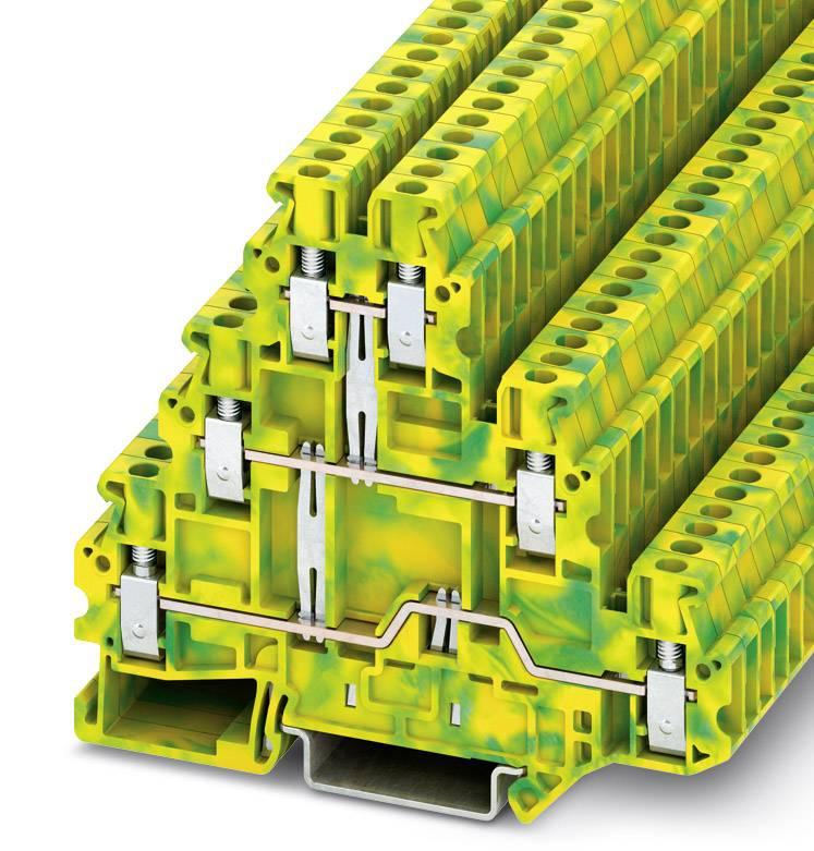 Trojitá svorka ochranného vodiče Phoenix Contact UT 2,5-3PE 3214275, 50 ks, zelenožlutá