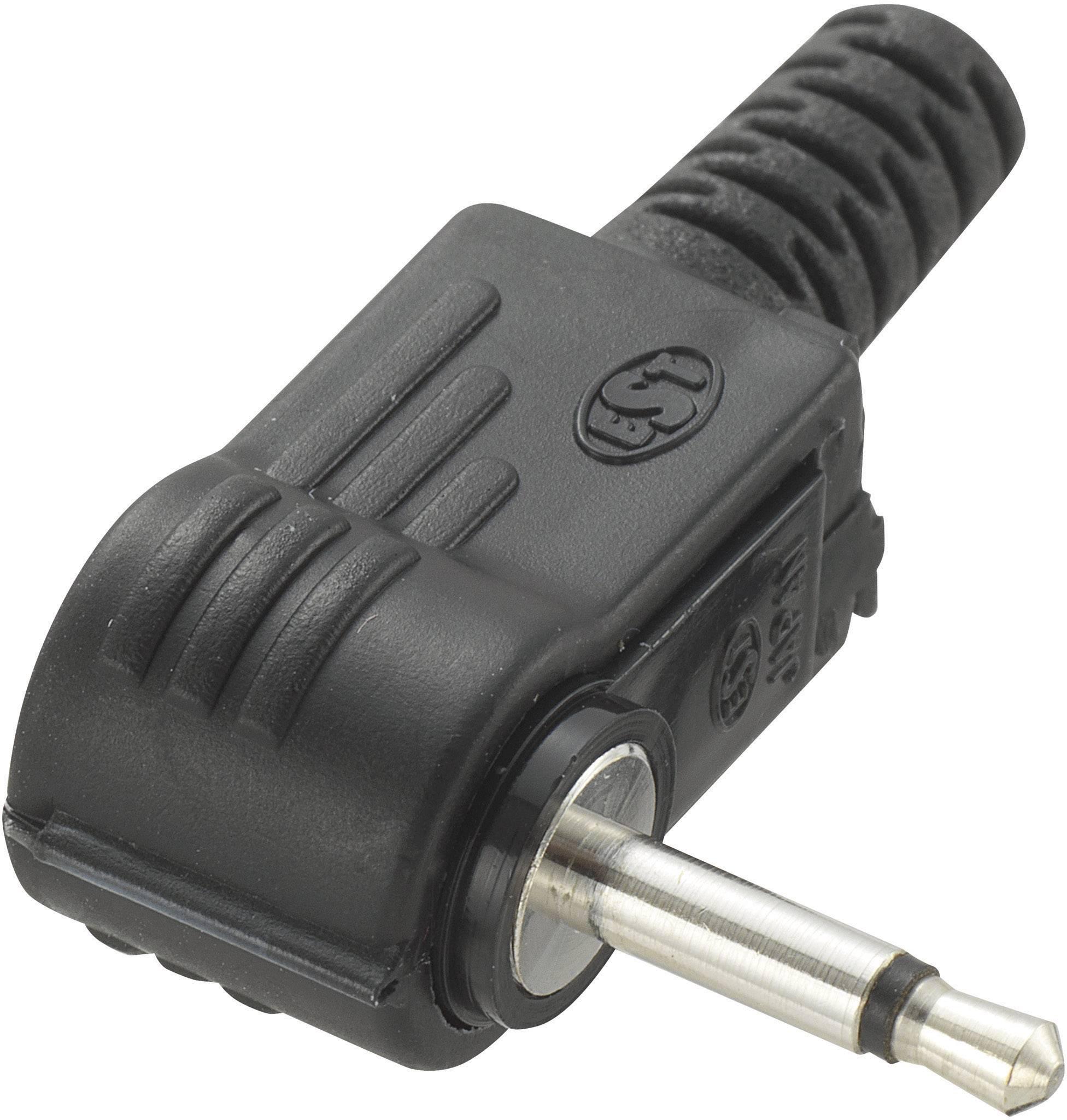 Jack konektor 2,5 mm mono, zástrčka úhlová, 2pól, černá