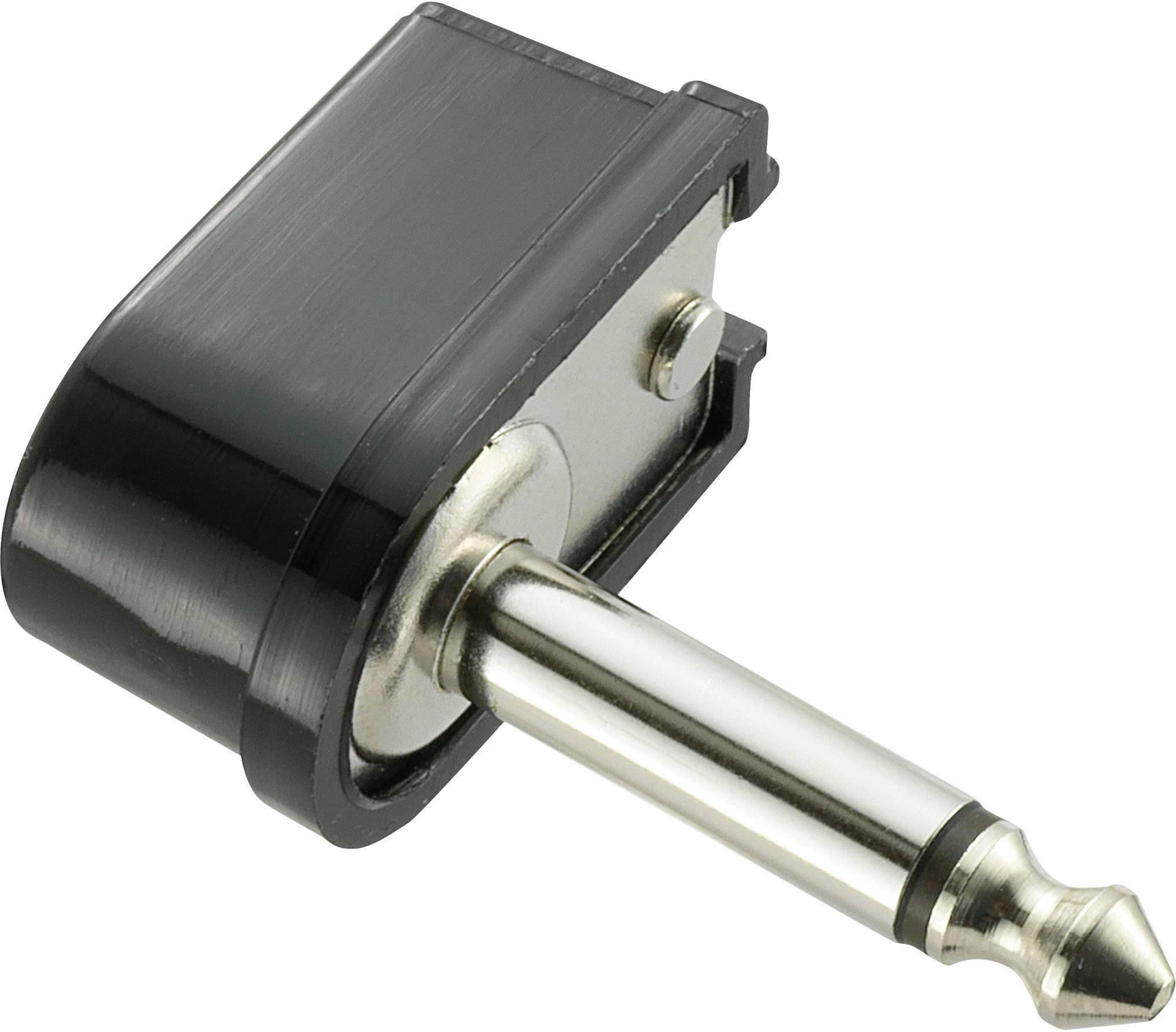 Jack konektor 6,35 mm mono, zástrčka úhlová, 2pól., černá