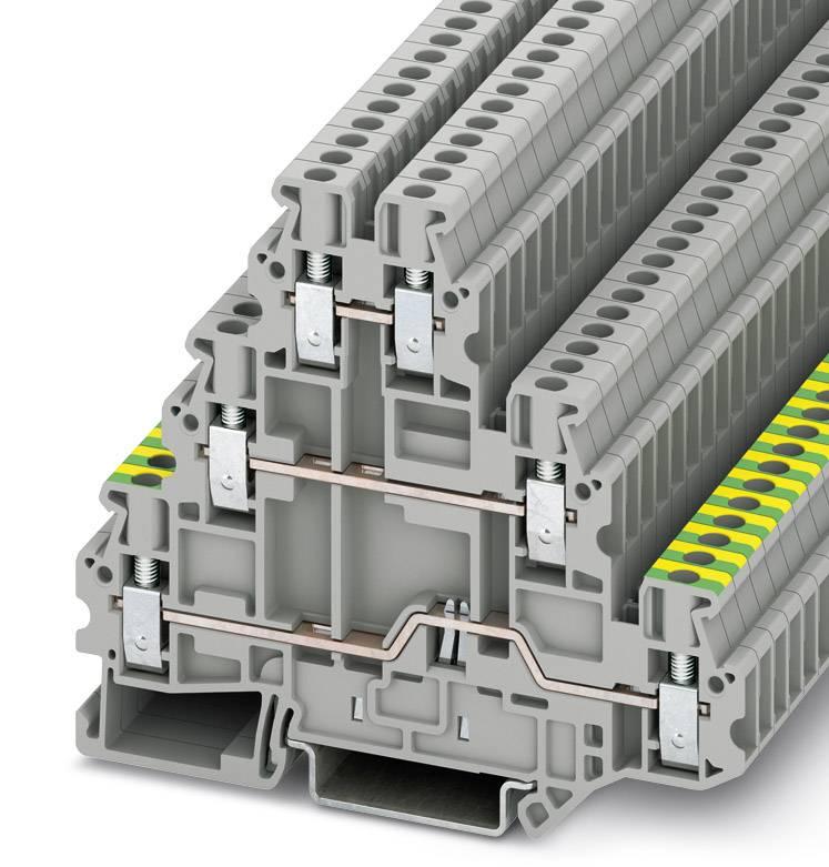 Trojitá svorka ochranného vodiče Phoenix Contact UT 2,5-PE/L/L 3214301, 50 ks, šedá