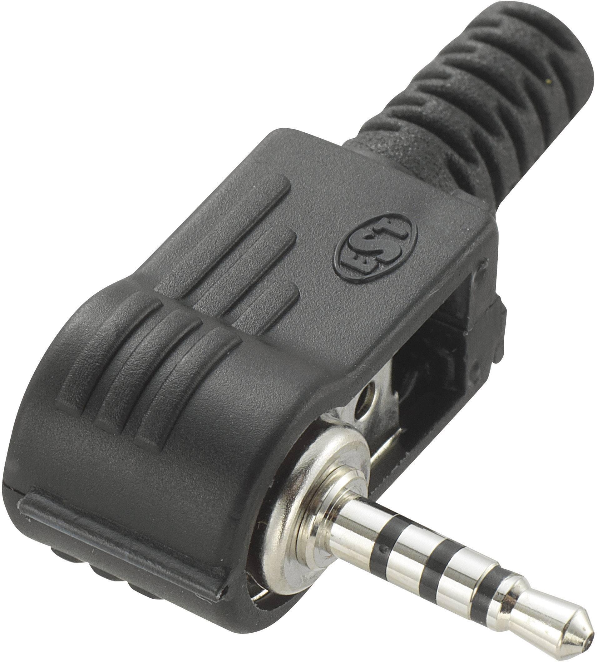 Jack konektor 2.5 mm stereo zástrčka, zahnutá Conrad Components 4, čierna, 1 ks