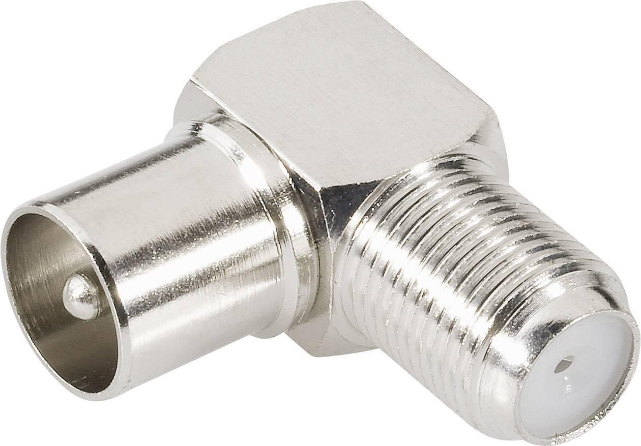 IEC (TV) zástrčka ⇔ F zásuvka BKL 0403133, 75 Ω, adaptér úhlový