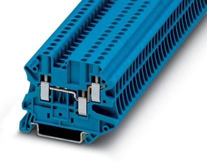 Řadová svorka průchodky Phoenix Contact UT 2,5-TWIN BU 3044526, 50 ks, modrá