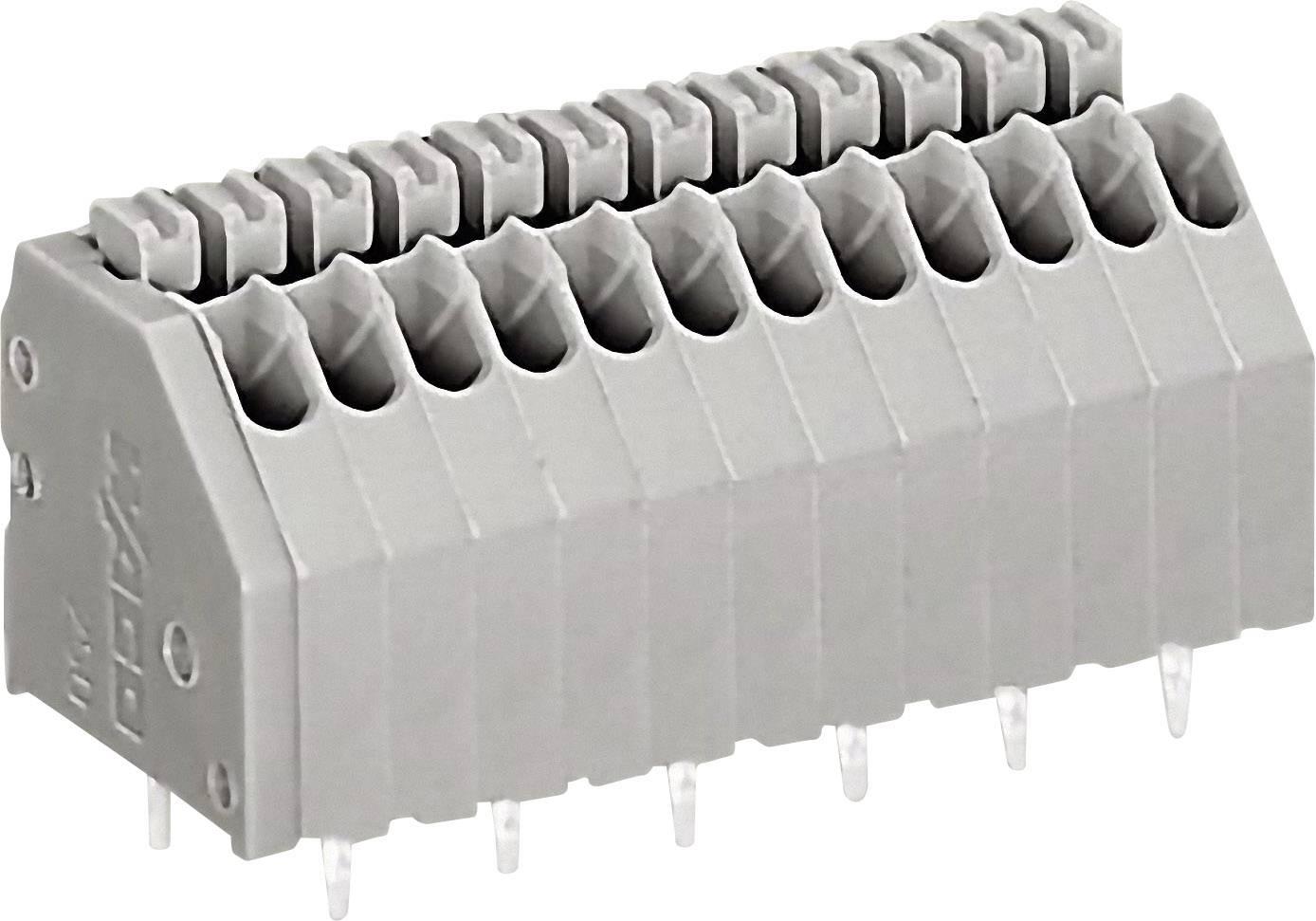 Pájecí svorkovnice série 250 WAGO 250-1404, AWG 24-20, 0,4 - 0,8 mm², 2,54 mm, 2 A, šedá