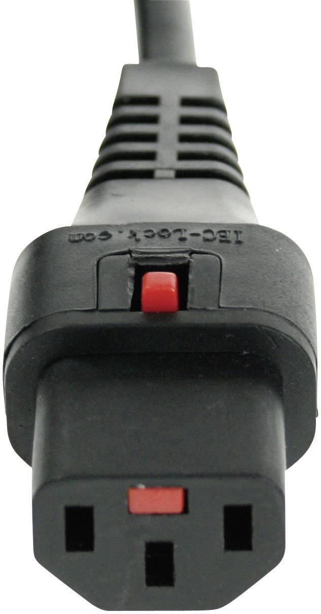 Bezpečnostný konektor IEC C13 zásuvka 10 A - uhlová zástrčka s ochranným kontaktom čierna, 1 ks