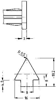 Signalizační světlo RAFI, 28 V, 10 mm, červené, tvar šipky