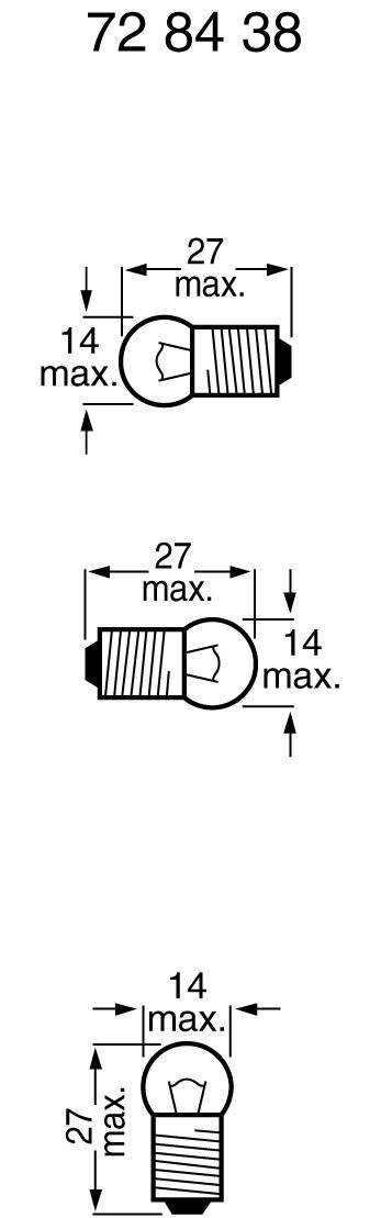 Žiarovka pre bicykle, 6 V 3 W 0.5 A Sockel=E10