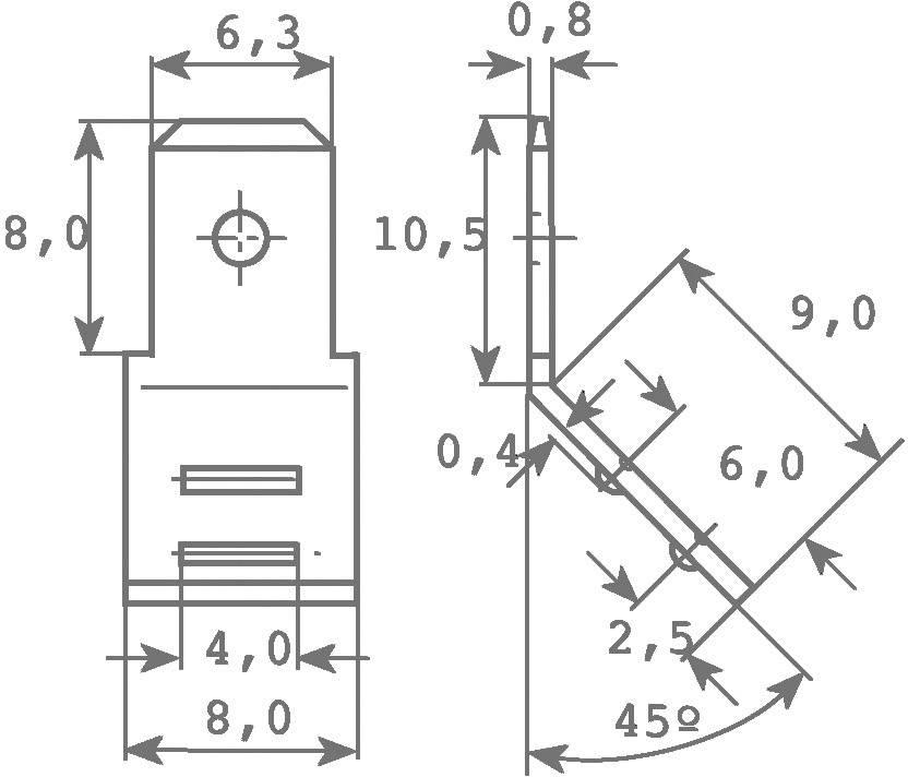 Jazýček konektora Vogt Verbindungstechnik 38412SBA.95 6.3 mm x 0.8 mm, 45 °, neizolované, kov, 1 ks