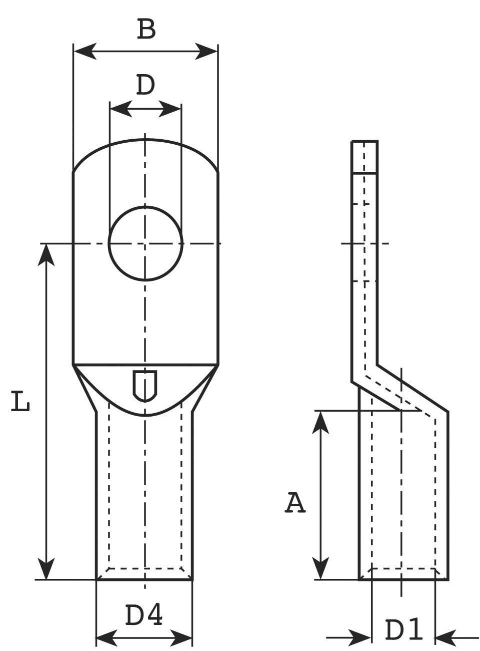 Trubicové káblové oko Vogt Verbindungstechnik 3427A, průřez 25 mm², průměr otvoru 8.5 mm, 1 ks