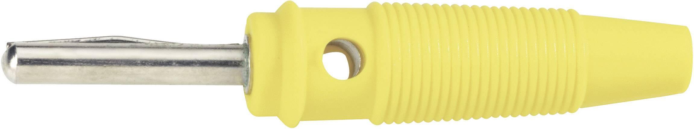 Banánový konektor BKL Electronic 072151-P – zástrčka, rovná, Ø hrotu: 4 mm, žltá, 1 ks
