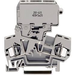 Istiaca svorka WAGO 281-611, osadenie: L, pružinová svorka, 8 mm, sivá, 1 ks