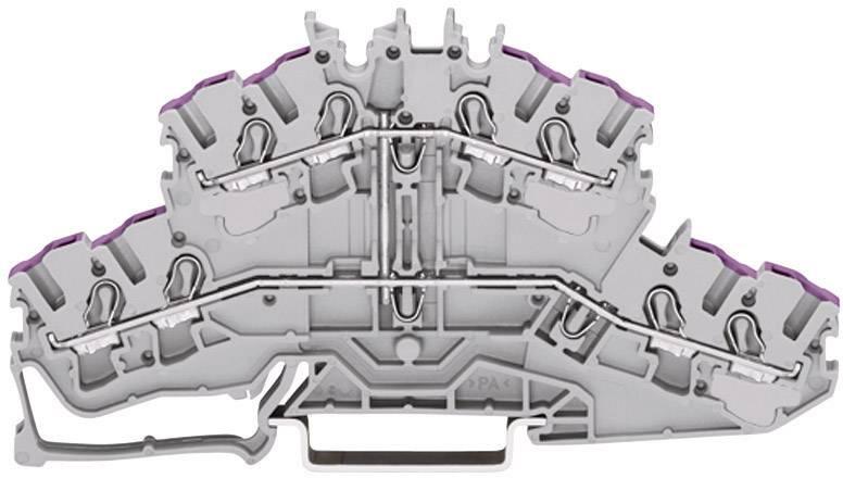 Dvojitá priechodná svorka WAGO 2002-2408, osadenie: L, pružinová svorka, 5.20 mm, sivá, 1 ks