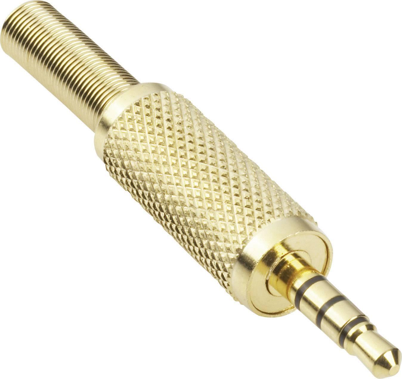 Jack konektor 3,5 mm stereo BKL 1103057, zástrčka rovná, 4pól., zlatá