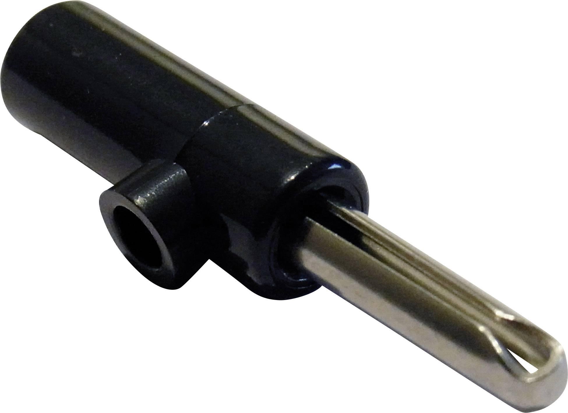 Banánový konektor Schnepp – zástrčka, rovná, Ø hrotu: 4 mm, čierna, 1 ks