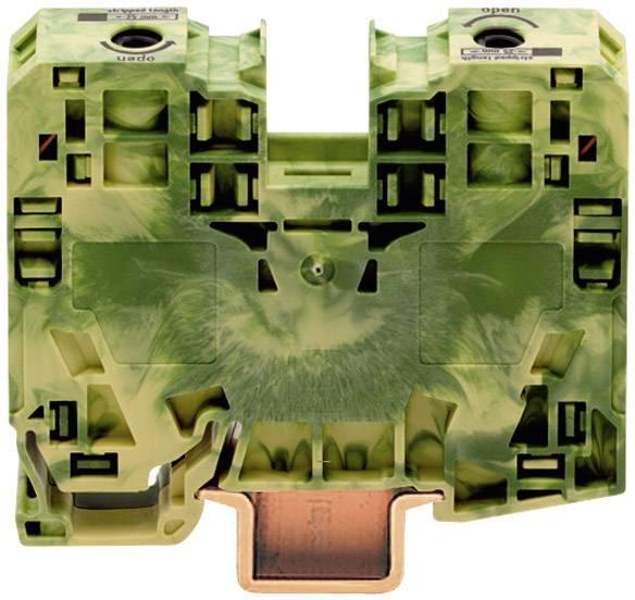 Svorka ochranného vodiča WAGO 285-137, osadenie: Terre, pružinová svorka, 16 mm, zelenožltá, 1 ks