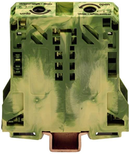 Svorka ochranného vodiča WAGO 285-157, osadenie: Terre, pružinová svorka, 20 mm, zelenožltá, 1 ks