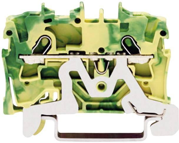 Svorka ochranného vodiča WAGO 2001-1207, osadenie: Terre, pružinová svorka, 4.20 mm, zelenožltá, 1 ks