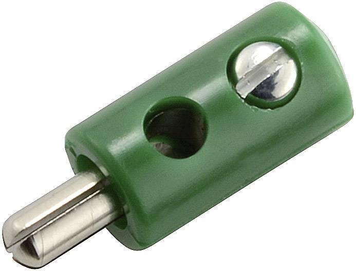 Mini banánkový konektor – zástrčka, rovná, Ø hrotu: 2.6 mm, zelená, 1 ks