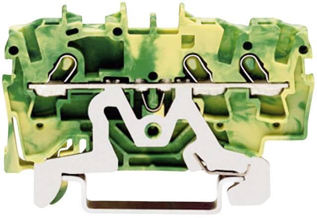 Svorka ochranného vodiča WAGO 2001-1407, osadenie: Terre, pružinová svorka, 4.20 mm, zelenožltá, 1 ks