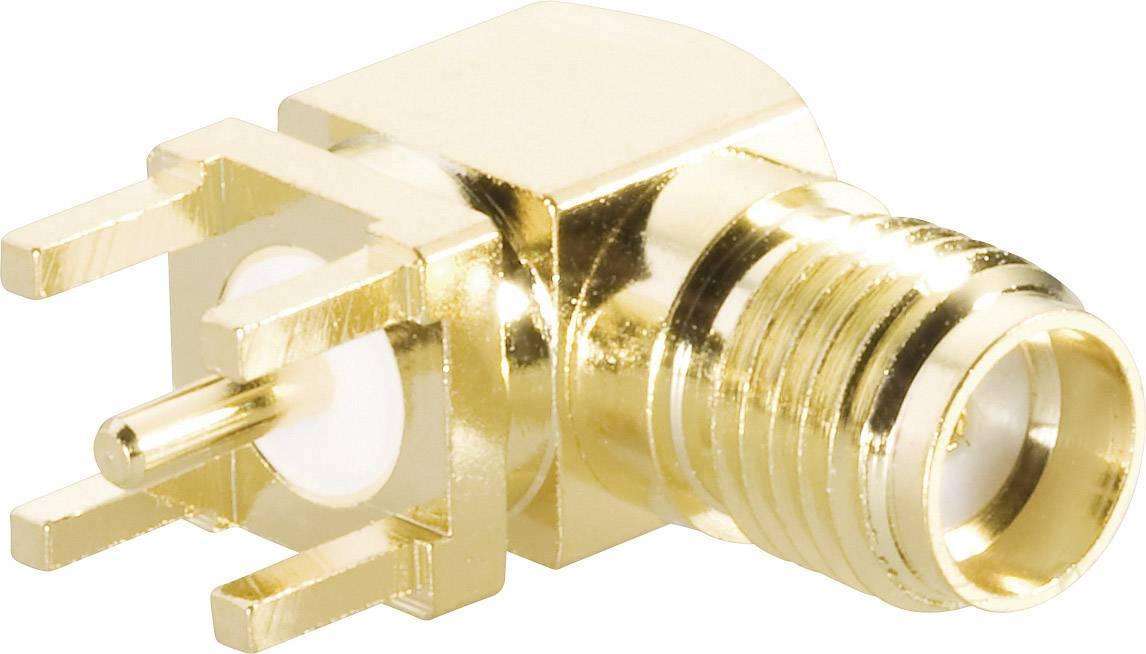 SMA reverzný konektor BKL 419013, 50 Ω, zásuvka vstavaná uhlový