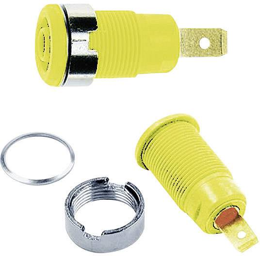 Bezpečnostná laboratórna zásuvka Stäubli SLB4-F6,3 – zásuvka, vstavateľná, žltá, 1 ks