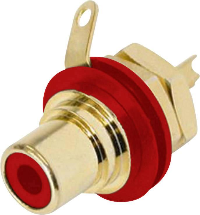Cinch konektor zásuvka, vstavateľná vertikálna Rean AV NYS367-2, počet pinov: 2, červená, 1 ks