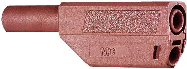Bezpečnostná lamelová zástrčka Stäubli SLS425-SE/Q – zástrčka, rovná, Ø hrotu: 4 mm, hnedá, 1 ks