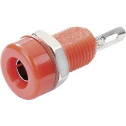 Laboratorní konektor Ø 4 mm SCI, zásuvka vestavná vertikální, červená