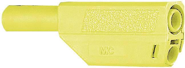 Bezpečnostná lamelová zástrčka Stäubli SLS425-SE/Q/N – zástrčka, rovná, Ø hrotu: 4 mm, zelenožltá, 1 ks