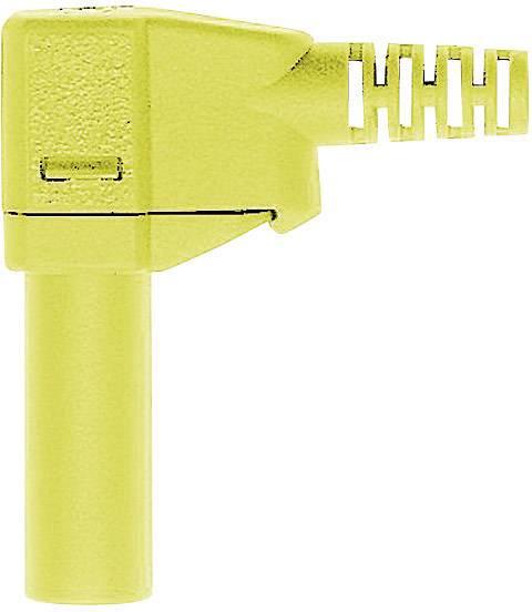 Lamelová zástrčka Stäubli SLS425-SW – zástrčka, zahnutá, Ø hrotu: 4 mm, zelenožltá, 1 ks