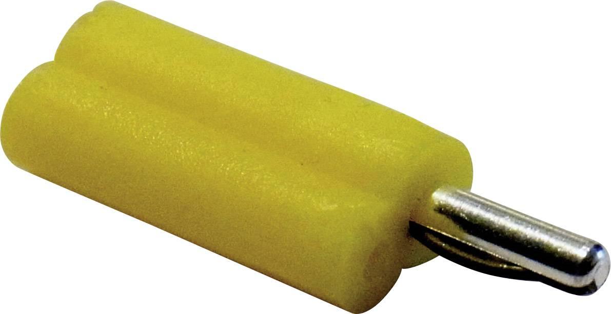 Banánový konektor Schnepp F 2020 – zástrčka, rovná, Ø hrotu: 2 mm, žltá, 1 ks
