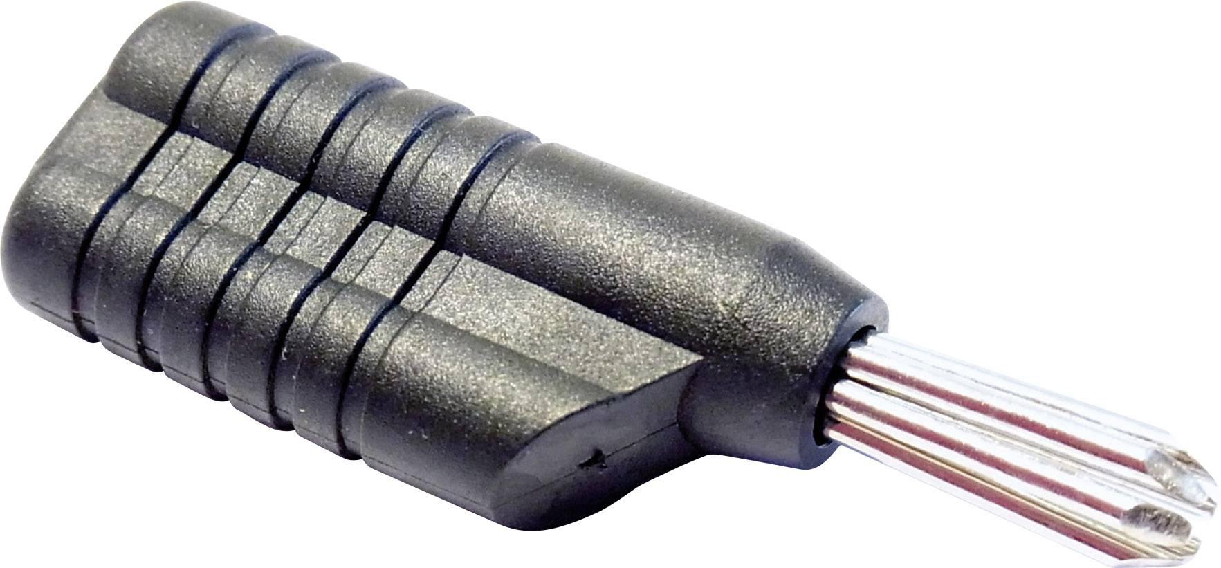 Banánový konektor Schnepp N 4041 L – zástrčka, rovná, Ø hrotu: 4 mm, sivá, 1 ks