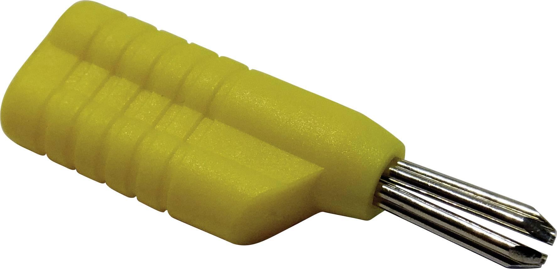 Banánový konektor Schnepp N 4041 L – zástrčka, rovná, Ø hrotu: 4 mm, žltá, 1 ks