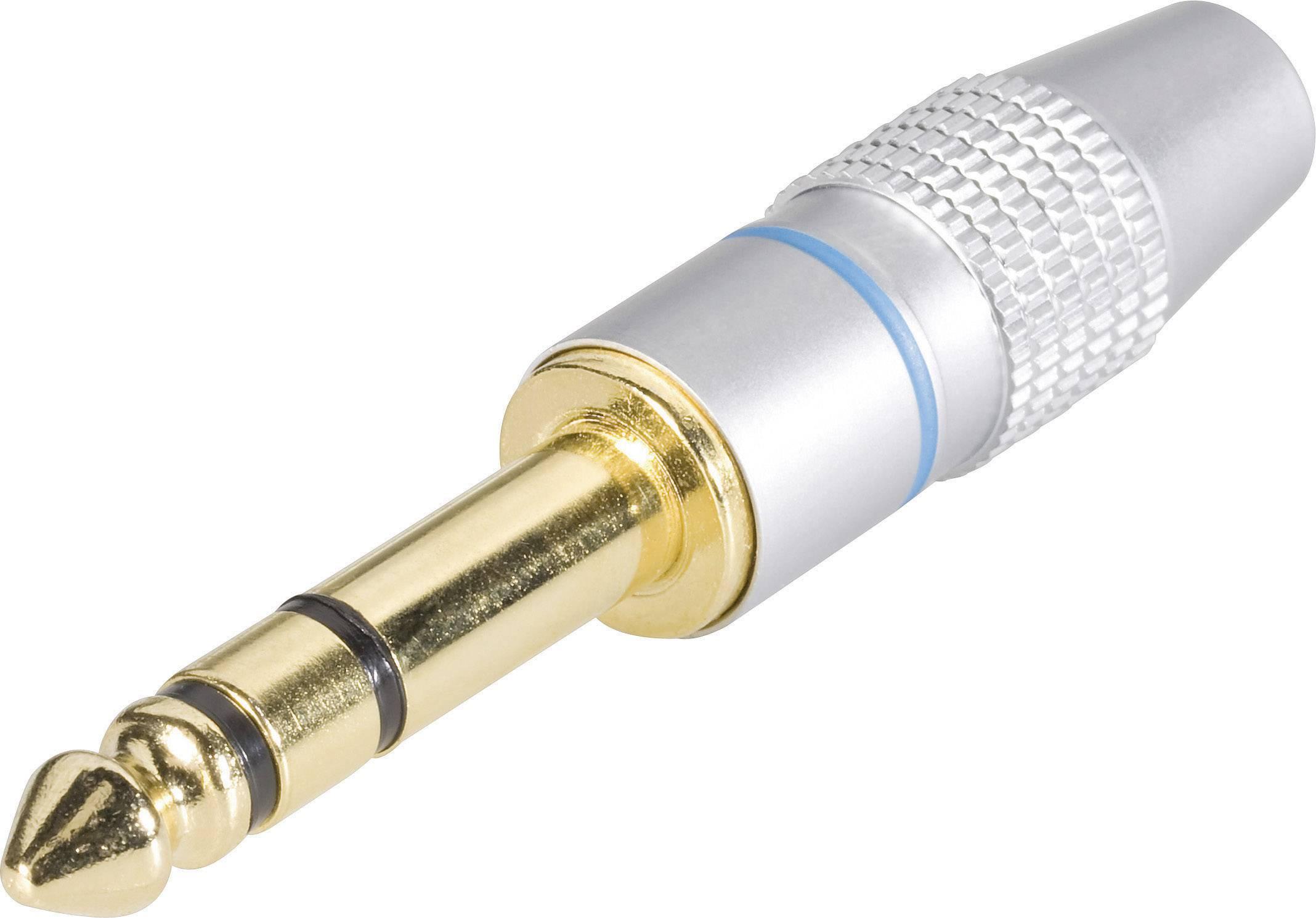 Jack konektor 6,35 mm stereo, zástrčka rovná, 3pól., do 7,2 mm, stříbrná